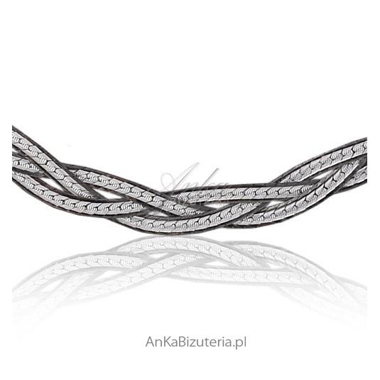 Srebrna bransoletka zapleciony warkocz -srebro rodowane, oksydowane i diamentowane 19 cm