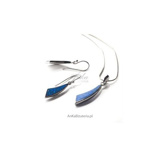 Komplet srebrny rodowany z pieknym kamieniem -niebieskim opalem