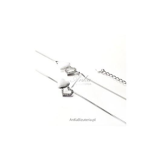 Komplet srebrny naszyjnik i bransoletka Serca dwa