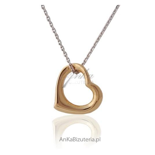 Wisiorki Srebrne - Naszyjnik srebrny serduszko złoto różowe na srebrnym łańcuszku