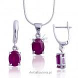Piękna biżuteria srebrna rodowana z rubinem