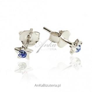 Kolczyki srebrne dla dziewczynek - Maleńkie niebieskie gwiazdki