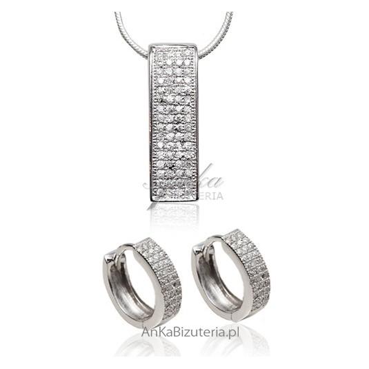 Komplet biżuterii srebrnej rodowanej z cyrkoniami osadzanymi metodą Micro Pave