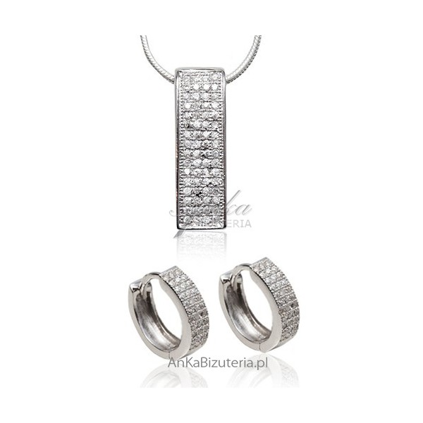 Komplet biżuterii srebrnej Mokro Pave