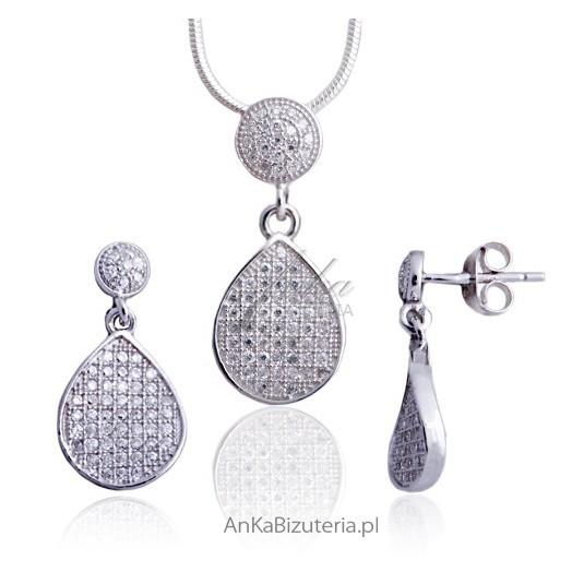 Piękna biżuteria srebrna rodowana z cyrkoniami osadzanymi jak brylanty.