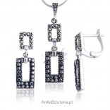Komplet srebrny, kolczyki i wisiorek z markazytami