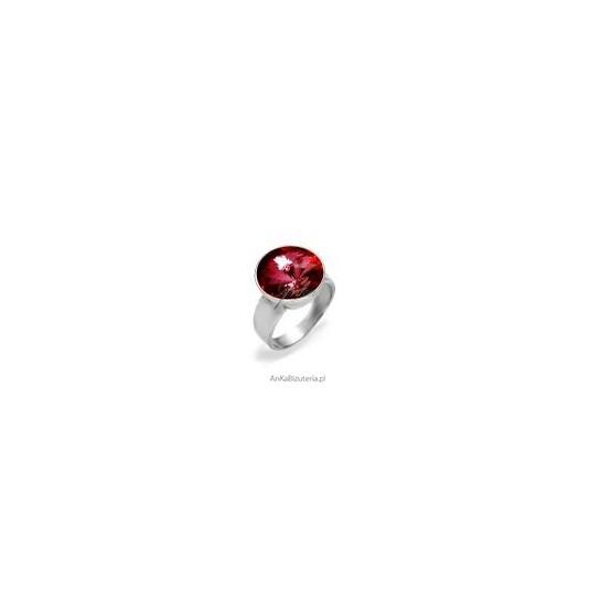 Efektowny pierścionek srebrny z kryształem Swarovski Rivoli Bead - Antique Pink