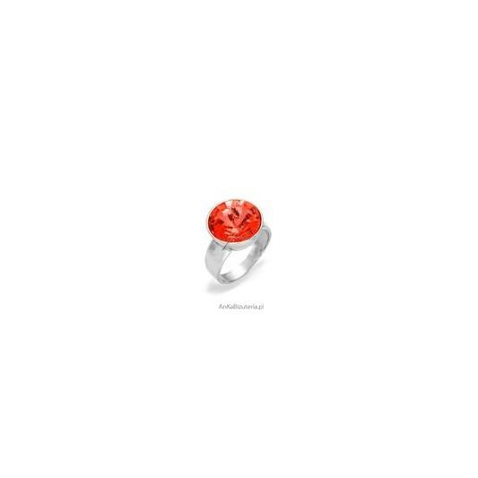 Efektowny pierścionek srebrny z kryształem Swarovski Rivoli Bead - Rose Peach