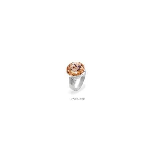 Efektowny pierścionek srebrny z kryształem Swarovski Rivoli Bead - Golden Shadow