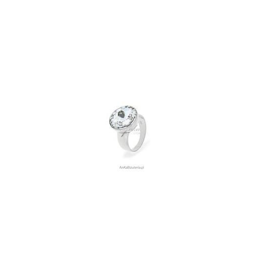 Efektowny pierścionek srebrny z kryształem Swarovski Rivoli Bead -Crystal - biały