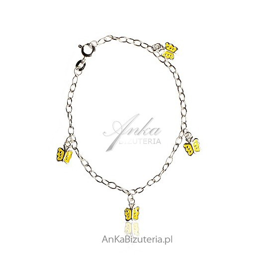 Bransoletka dla Dziewczynki w żółte motylki