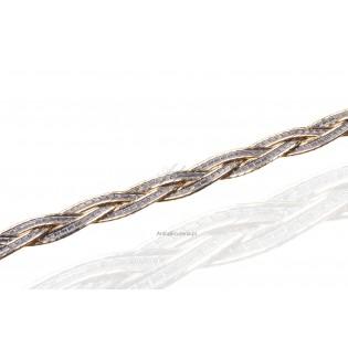 Srebrno-złota bransoletka, zapleciony warkocz -srebro rodowane z 14k złotem i diamentowane 18 cm