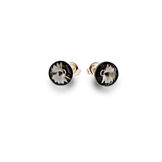 Kolczyki srebrne wkrętki z kryształami Swarovski Silver Night - ciemnoszary.