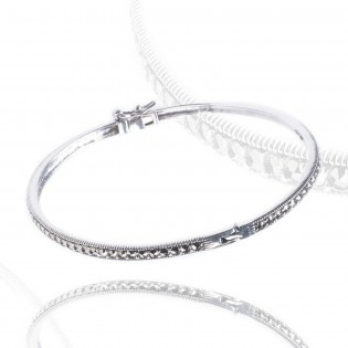 Niezwykle wytworna bransoletka z markazytami - srebrna