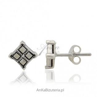 Kolczyki srebrne z markazytami na wkrętki - małe kwadraciki