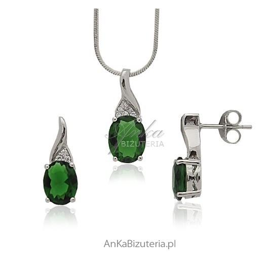 Szmaragdowy komplet srebrny - Isabella
