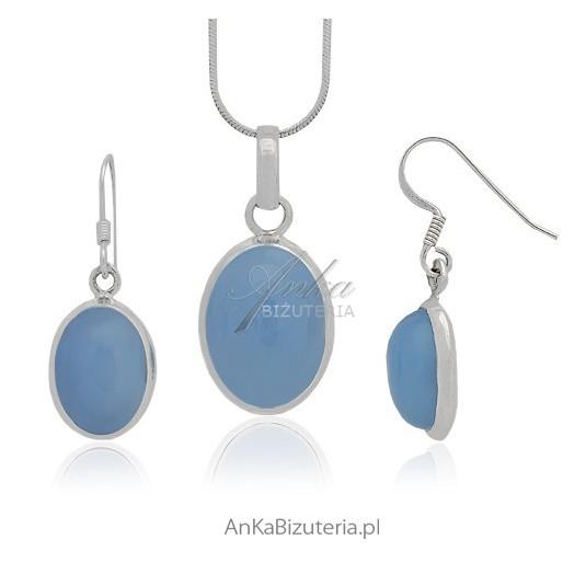 Chalcedon niebieski - komplet srebrny z niezwykle rzadkim kamieniem o wybitnych właściwościach