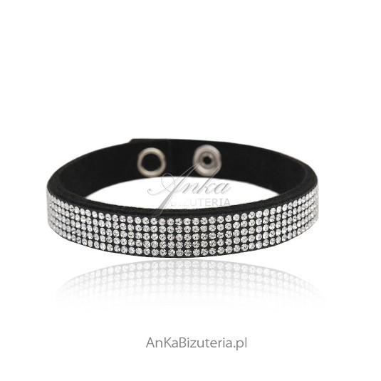 Bransoleta z mini kryształków Swarovski - białe kryształki na czarnej alkantrze