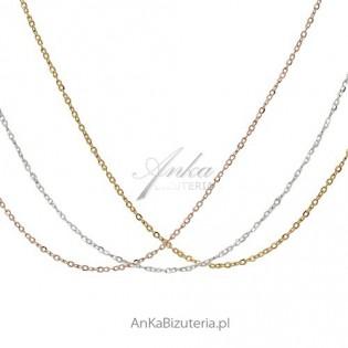 Naszyjnik srebrny , łańcuszek - 45 cm - srebro z dwoma kolorami złota