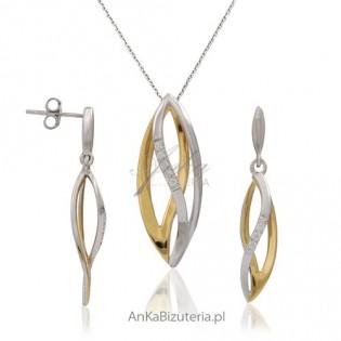 Vanessa - komplet srebrny i złocony z mikro cyrkoniami