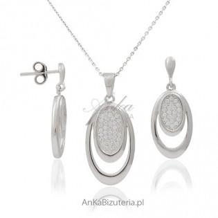 Komplet srebrny - komplet rodowany z cyrkoniami jak brylanty