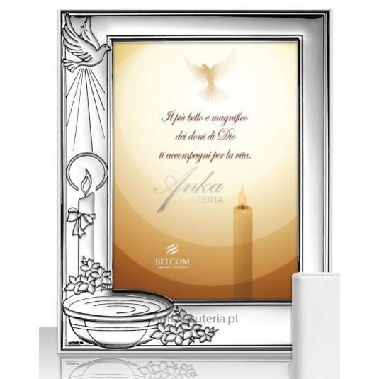 Ramka srebrna do zdjęcia 6*9 zdjęcie - Prezent na Chrzest GRAWER