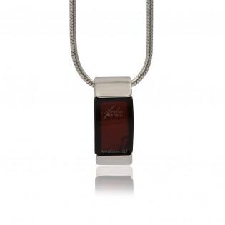 Wisiorek srebrny z pięknym wiśniowym bursztynem - klasyka i elegancja!