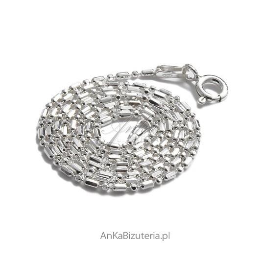 Łańcuszek srebrny , kulka-pałka diamentowana
