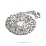 Łańcuszek srebrny,42cm,45cm , kulka-pałka diamentowana