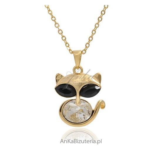 Naszyjnik z kotem i kamieniami Swarovski, pokryty złotem