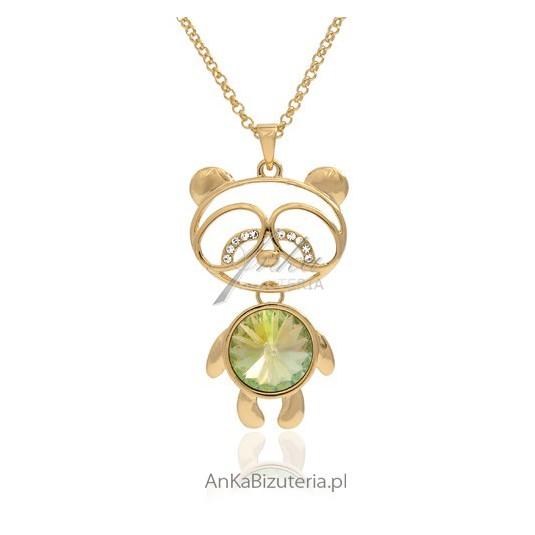 Naszyjnik z misiem i kryształami Swarovski, pokryty złotem