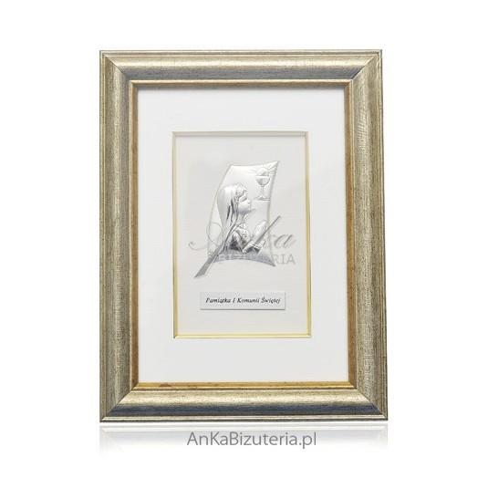 Pamiątka I Komunii Świętej - Srebrny obrazek w ramce- dla dziewczynki