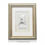 Pamiątka Pierwszej Komunii Świętej Srebrny obrazek w ramce dla dziewczynki