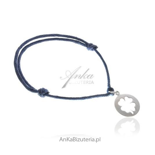 Bransoletka na sznurku ze srebrną przywieszką - koniczynką