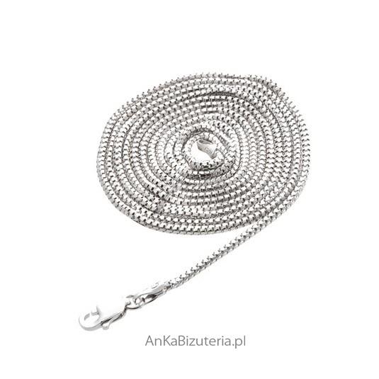 Łańcuszek srebrny rodowany 80 cm -lańcuszek włoski-Etruska