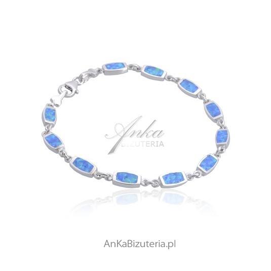 Bransoletka srebrna z niebieskim opalem.
