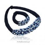 Bogaty naszyjnik i bransoletka z pereł Swarovski - biżuteria ręcznie robiona