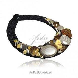 Naszyjnik , biżuteria artystyczna z krzemieniem pasiastym i bursztynem