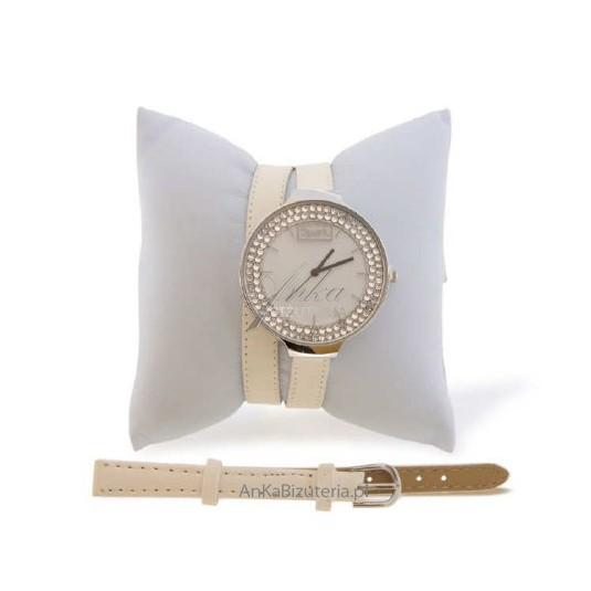 Zegarek damski z kryształami Swarovski - Crystal biały.