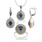 Kolekcja Wiktoriańska - 3 w 1 Komplet srebrny z szafirem i cyrkonią