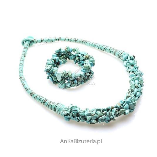 Komplet srebrny z niebieskim turkusem
