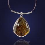 Naszyjnik srebrny z naturalnym bursztynem. Biżuteria artystyczna z bursztynu