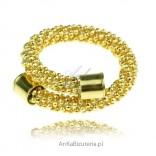 Pierścionek srebrny pokryty 14 karatowym złotem. Ekskluzywna kolekcja włoska.