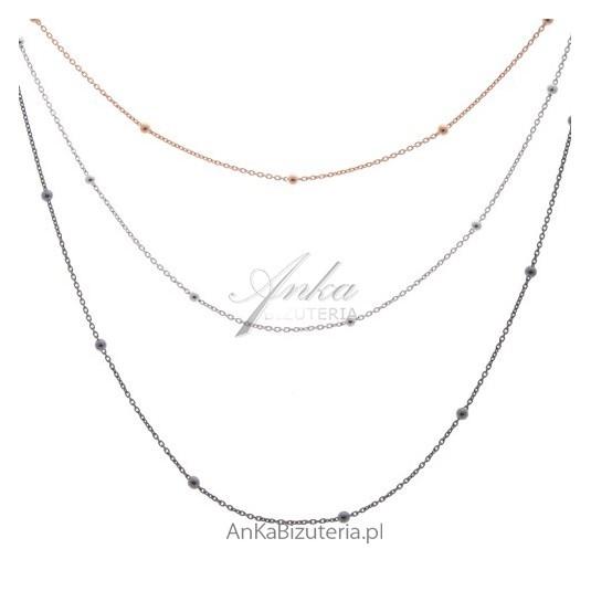 Naszyjnik srebrny 3 łańcuszki 3 kolory Modny Włoski
