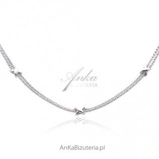 Naszyjnik srebrny rodowany .Piękna włoska biżuteria.
