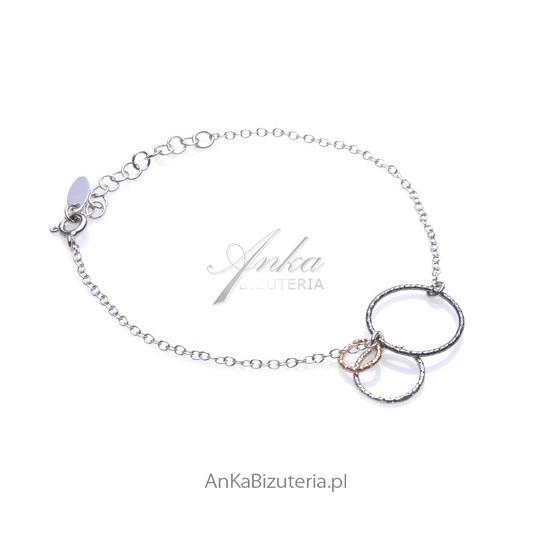 Bransoletka srebrna rodowana , pozłacana i oksydowana Biżuteria włoska