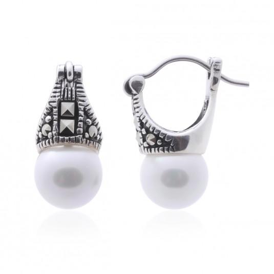 Kolczyki srebrne z markazytami i perełkami