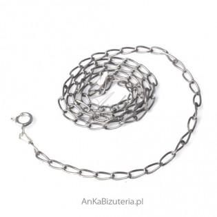 Srebrna Biżuteria Łańcuszek Long oksydowany45cm 0,6.