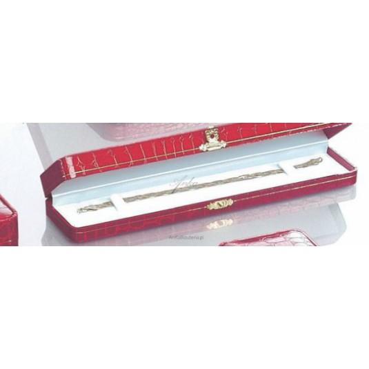 Eleganckie pudełko ze skóry ekologicznej Czerwone Bransoletka Zegarek