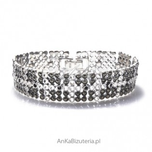 Szeroka bransoletka srebrna z markazytami